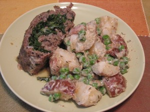 Stuffed Meatloaf with Creamed Peas and Potatoes