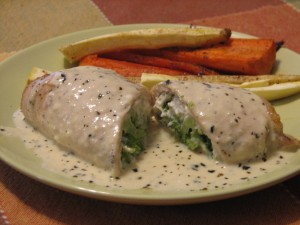 Chicken-Broccoli Roulade with Basil Alfredo; Roasted Carrots and Parsnips