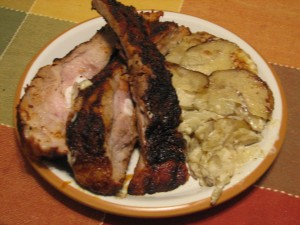 Spice-Rubbed Ribs and Scalloped Potatoes