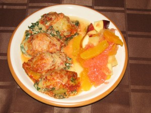 Spinach-Stuffed Shells served with Fruit Salad