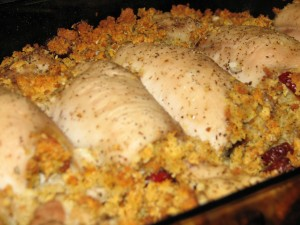 Chicken with Cranberry-Cornbread Stuffing