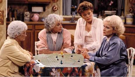 badly 'shopped screen grab of the Golden Girls around a D&D mat and minis