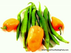 Habanero and green peppers